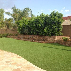Artificial grass with waterfall